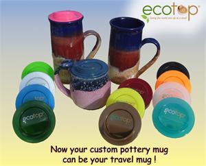 Now your custom pottery mug can be your travel mug!